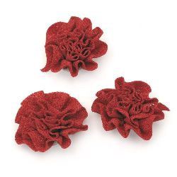 Decorative Fabric Rose, Red 53mm 5pcs