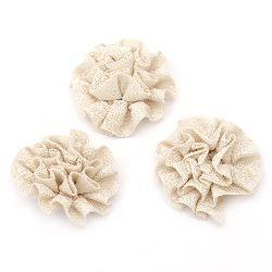 Floare 53 mm cremă textilă -5 bucăți