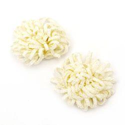 Floare 43 mm cremă textilă shaggy -5 bucăți