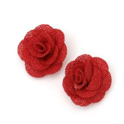 Decorative Fabric Rose, Red 30mm 5pcs