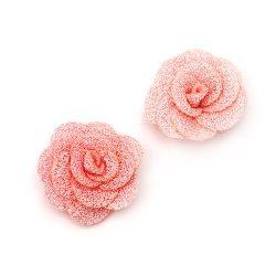 Decorative Fabric Rose, Pink 30mm 5pcs