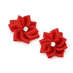 Λουλούδι σατέν 26 mm με κόκκινη πέτρα -5 κομμάτια