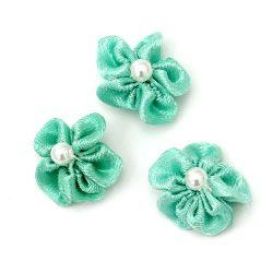 Trandafir de 23 mm cu culoare alb perlă verde deschis -10 bucăți