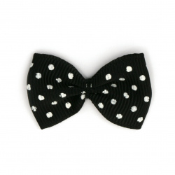 Ribbon 35x25 mm black with white dots rips -10 pieces