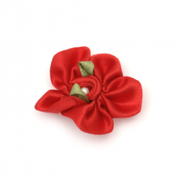 Flower 30 mm with pearl color red - 10 pieces