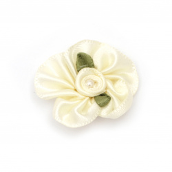 Flower 30 mm with pearl champagne - 10 pieces