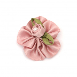 Flower 30 mm with pearl color lavender - 10 pieces