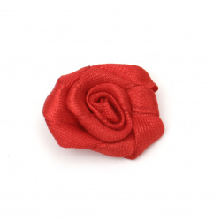 Rose satin 30 mm color red - 10 pieces