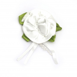Rose satin 50 mm with leaf color white - 5 pieces
