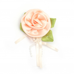 Rose satin 50 mm with leaf color peach - 5 pieces