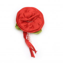 Rose satin 50 mm with leaf color red - 5 pieces