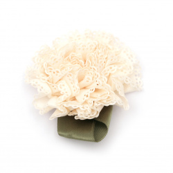 Fabric carnation 65 mm with leaf color light peach - 5 pieces