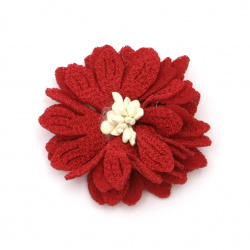 Red Fabric Flower 50 mm with stamens - 5 pieces