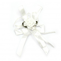 Flower with ribbon 30 mm white - 5 pieces