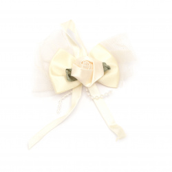 Rose with satin ribbon and tulle 80 mm cream color - 5 pieces