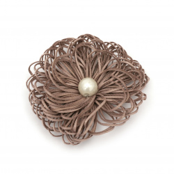 Flower with pearl 65 mm color light brown - 2 pieces