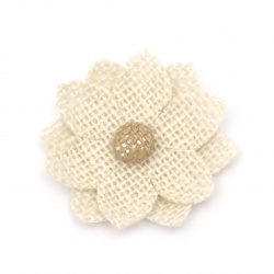 Flower for decoration sackcloth 65x65 mm two sepals white