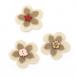 Flowers for decoration sackcloth 55x55 mm assorted - 3 pieces