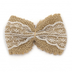 Burlap Ribbon Bow with white lace for gift decoration, DIY home decor projects 80x60 mm