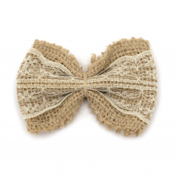 Burlap Ribbon Bow with ecru lace for gift decoration, DIY home decor projects 80x60 mm