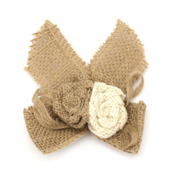 Burlap Ribbon Bow with two roses for gift decoration, DIY home decor projects 110x110 mm
