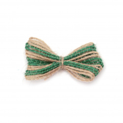 Burlap Ribbon Bow for gift decoration, DIY home decor projects 40x25 mm green - 5 pieces