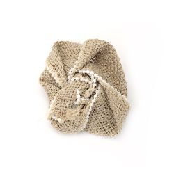 Burlap Flower, Decorations, Clothes, Craft, DIY 75 mm with pearls