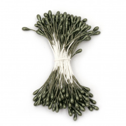 Pearl Stamens for Decoration 3x6x65 mm dark green ± 144 pieces