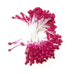 Stamens pearl double-sided for artificial flower making 3x6x70 mm electric deep pink ~ 144 pieces