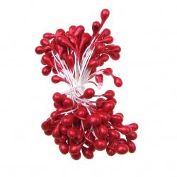 Тичинки перлени двустранни 5x8x60 мм червени ~80 броя