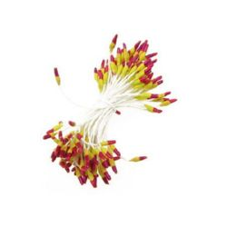 Stamens double-sided for Decoration 2x7x60 mm two-colored yellow and red ~144 pieces