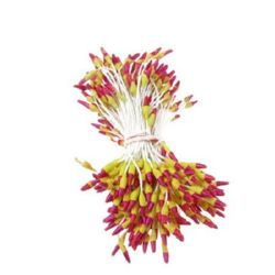 Stamens double-sided for Decoration 2x7x60 mm two-colored yellow and deep pink ~144 pieces