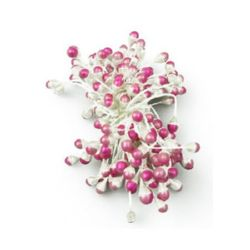 Stamens pearl double-sided 5x8x57 mm two-tone white and pink ~95 pieces