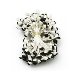 Stamens pearl double-sided for Decoration 6x8x61 mm two-tone white and black ~85 pieces