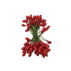 Stamens double-sided wire 5x9x65 mm red ~ 50 pieces