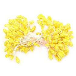 Styrofoam stamens  double-sided for decoration 5x7x57 mm yellow ~80 pieces