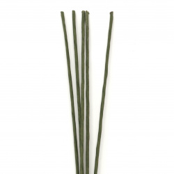 Flower handle green, wire 1.5 mm diameter, wrapped in paper, length ~ 50 cm outer diameter 3 mm - 5 pieces