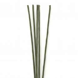 Дръжка за цветя зелена, тел 1.5 мм диаметър, обвита с хартия, дължина ~50 см външен диаметър 3 мм - 5 броя
