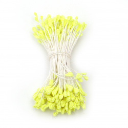 Stamens with glitter double-sided for Decoration 2.5x5x55 mm yellow electric ~150 pieces