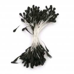 Stamens double-sided  for Decoration 3x5x60 mm color black pastel ±130 pcs.