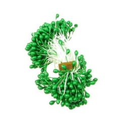 Stamens pearl double-sided 3x6x70 mm green ~144 pieces
