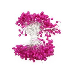 Pearl Stamens double-sided for Decoration 3x6x70 mm deep pink ~144 pieces