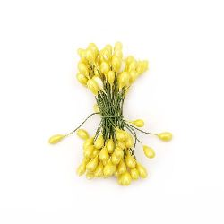 Stamens double-sided wire  5x9x65 mm yellow ± 50 pieces