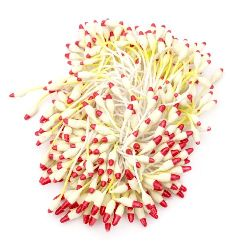 Stamens double-sided  for Decoration 2x7x60 mm two-color yellow light and red ~144 pieces