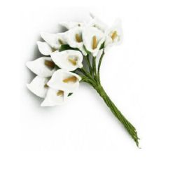 Potassium bouquet with leaf from EVA foam 16x30 mm white - 12 pieces