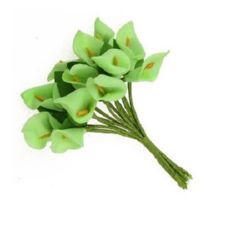 Buchet de calii cu frunze 16x30 mm verde -12 bucăți