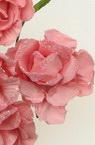 Τριαντάφυλλα  35 mm ροζ / χρυσόσκονη -6 τεμάχια