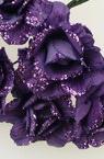 Роза букет хартия и тел 35 мм лилава брокат -6 броя