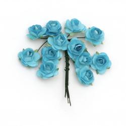 Τριαντάφυλλα 18 mm μπλε -12 κομμάτια
