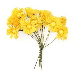 Bright sunflower bouquet 20x80 mm color dark yellow - 12 pieces
